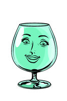 glass goblet woman face character