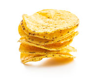 Round nacho chips. Yellow tortilla chips