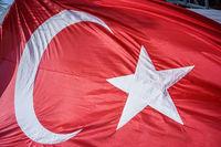 Close up Waving Turkey Flag of Silk
