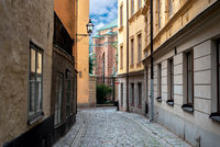 View of the street of old town Gamla Stan Stockholm