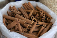 Many sticks of cinnamon for sale in local market, Pune Maharashtra.