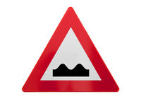 Traffic sign isolated - Bumpy road ahead