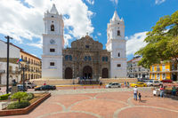 Panama City Cathedral iin a sunny day and Indipendence square
