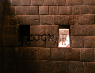 Details of masonry of Coricancha, famous temple in the Inca Empire, Cuzco, Peru