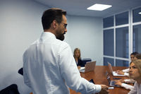Business man making a presentation in office