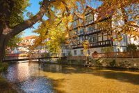 Historical timber houses by Gera river in Erfurt, main city of Thuringia
