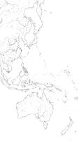 World Map of The PACIFIC OCEAN West coastline: Australasia, Polynesia (Asia-Pacific Region). Geographic chart.