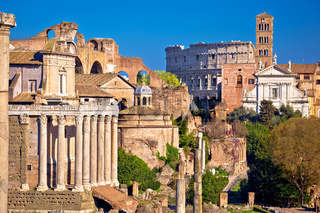 Ancient Roman Forum landmarks and Colosseum in eternal city of Rome