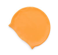 Orange silicone swim cap