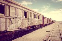Old train station in Bolivia desert