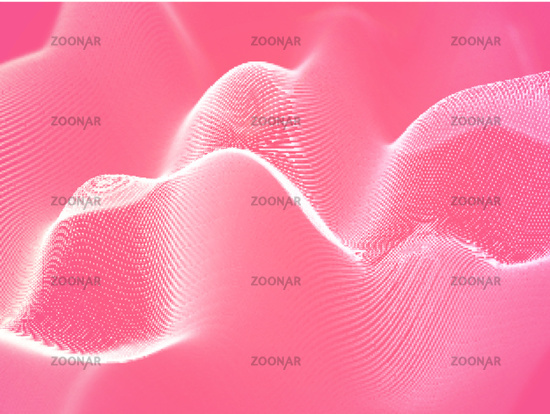 3D visualization of sound waves. Big data or information concept: White chart.