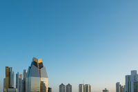 modern skyscraper skyline and blue sky copy space -