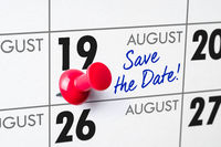 Wall calendar with a red pin - August 19