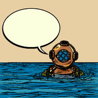 retro deep sea diver in metal helmet