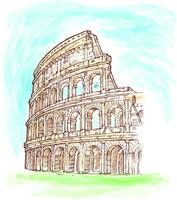 roman colosseum watercolor hand draw