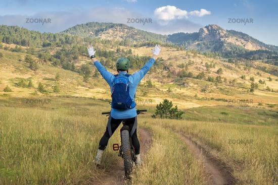 happy cyclist on a fat mountain bike