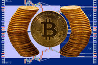 Bitcoin coin surrounded by reflected circle of pure gold coins