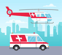 White and red ambulance helicopter and car, medical services concept, transport, vector illustration