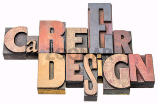 career design - isolated word abstract in wood type