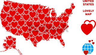 Vector Valentine USA With Alaska Map Collage of Hearts