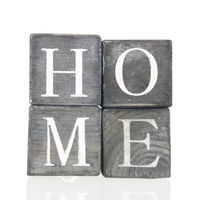 Wooden blocks with home text
