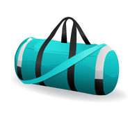 turquoise sport bag for sportswear and equipment icon isolated