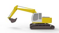 3d rendering of an excavator isolated in white studio background