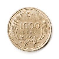 Old Turkish Coin on White Background, 1000 TL, 1993