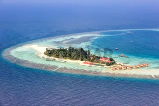 Malediven Insel Urlaub Paradies Meer Textfreiraum Copyspace Maayafushi Resort Ari Atoll Luftbild