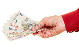 Hand hält Euro Geldscheine