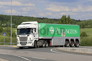 Scania Pilkington Glass Transporter on Intersection