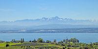 Blick vom Bodensee zu  Altmann und Säntis, Schweiz