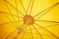 yellow sunscreen umbrella inside