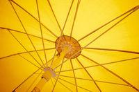 yellow sunscreen umbrella inside