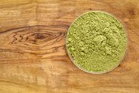 moringa leaf powder in round bowl