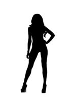 Black simple silhouette of woman on white