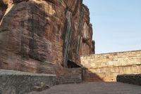 Steps leading from Cave 3 to Cave 4. Badami caves, Badami, Karnataka.