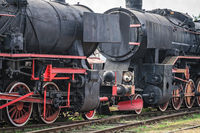 Old disused retro steam black train locomotives