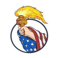 Hand Holding Liberty Torch Drawing Color