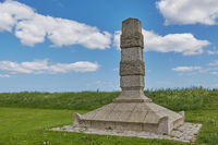 Stone monument Genforeningsmonument near a beach in Fredericia in Denmark