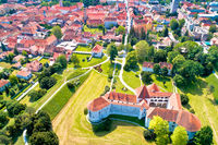 Town of Varazdin historic center and famous landmarks aerial view