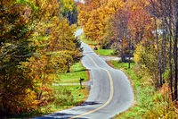 Highway at autumn day, Vermont, USA.