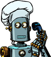 The robot cook takes the order menu, food delivery