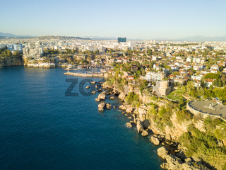 Drone Coastline Hidirlik Castle Harbor Antalya