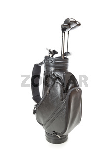 Blank Large Golf Bag with Clubs Isolated on a White Background