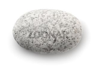 Top view of single white pebble