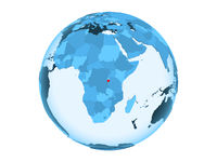 Burundi on blue globe isolated