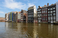 Dancing Canal Houses of Damrak, Amsterdam, Netherlands
