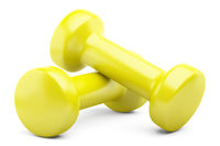 yellow dumbbells isolated on white background. 3d illustration