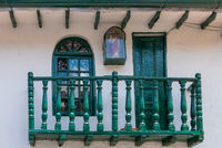 Bogota La Candelaria district ancient wooden balcony